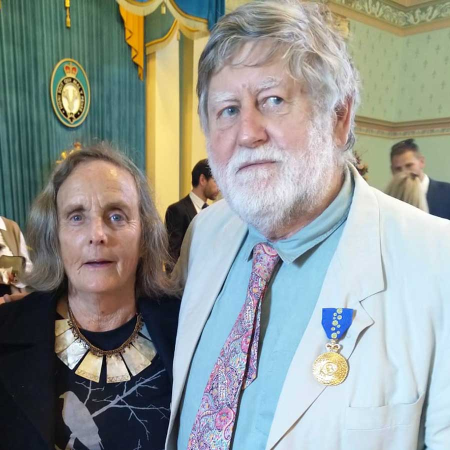 Clive and Penny Blazey at Government House for the presentation of Clive's Member of the Order of Australia